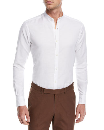 Band-Collar Cotton-Linen Shirt