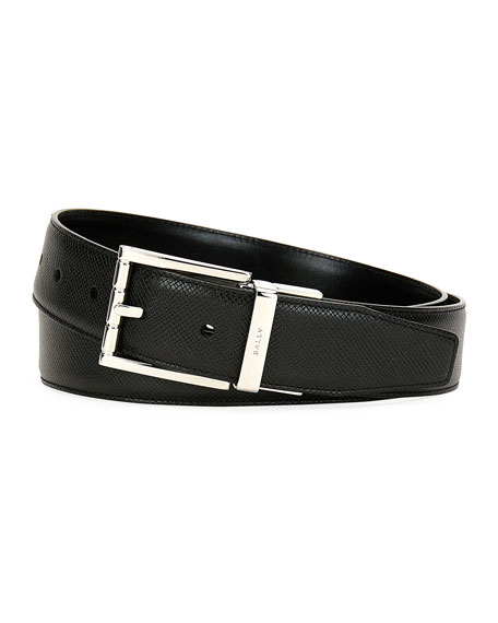 Bally Astor Reversible Leather Belt, Black