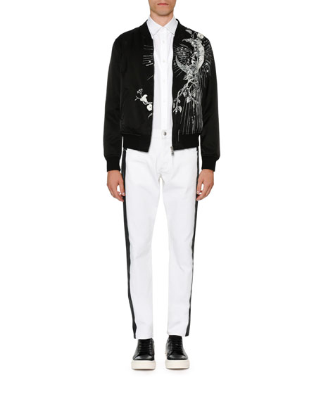 Velvet Bomber Jacket w/Embroidery
