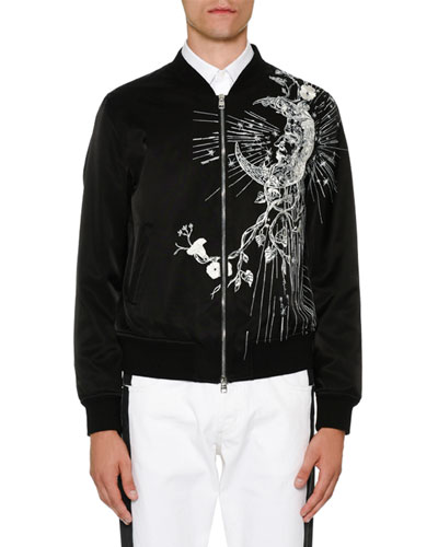 Velvet Bomber Jacket w/Embroidery