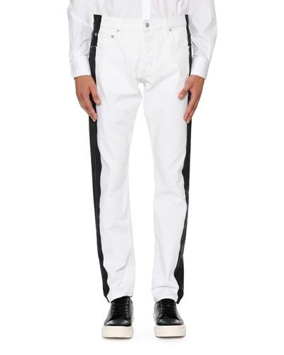 Side-Striped Slim-Straight Jeans
