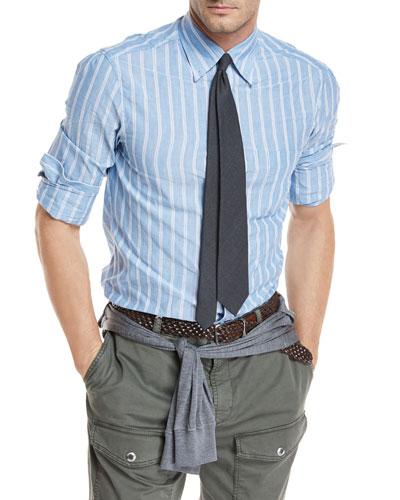 Striped Cotton-Linen Sport Shirt