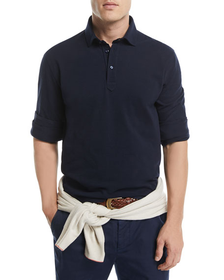 Long-Sleeve Cotton Polo Shirt
