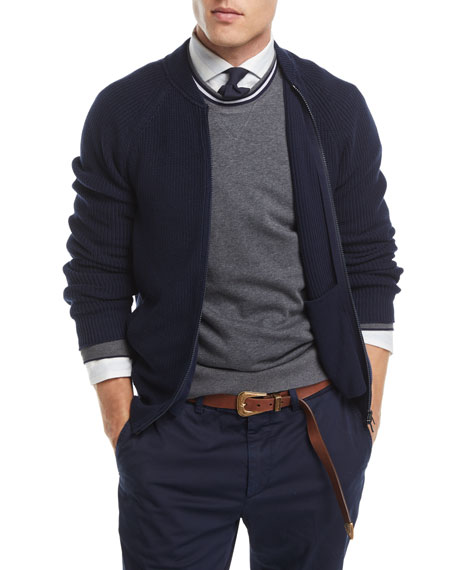 Ribbed Knit Full-Zip Cardigan