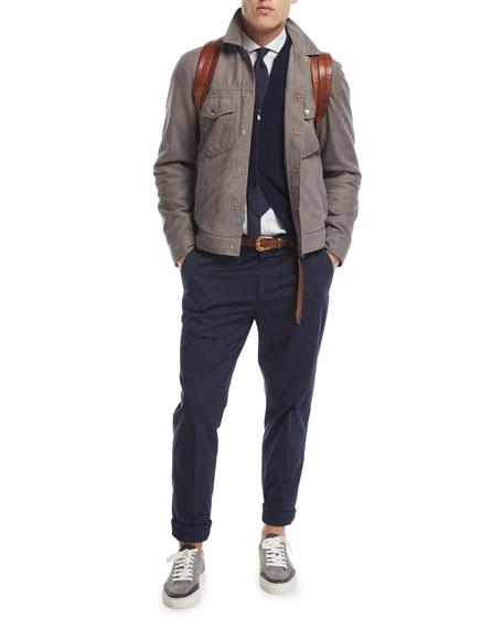 Suede Denim-Style Jacket