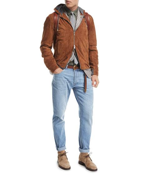 Leisure-Fit Straight-Leg Denim Jeans, Indigo