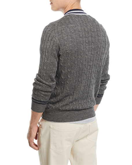 Cable-Knit Contrast-Trim Sweater