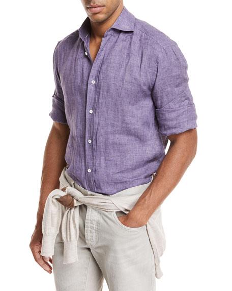 Woven Linen Button-Front Shirt