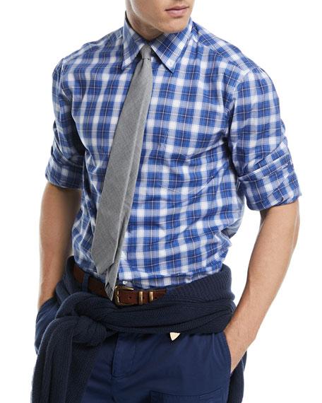 Cotton Check-Print Sport Shirt