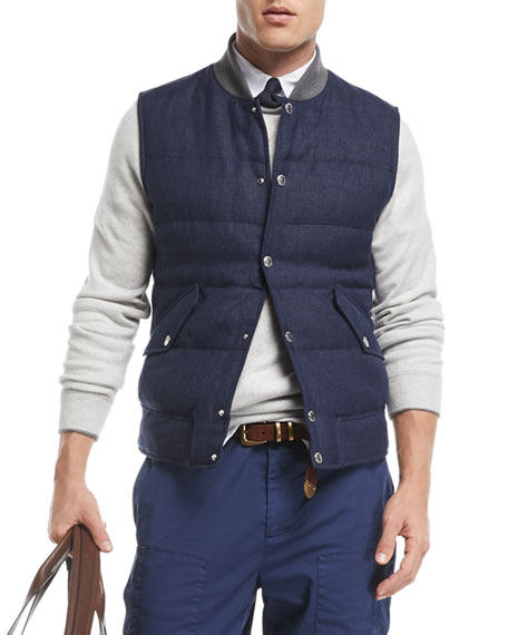 Image 1 of 1: Men's Quilted Linen/Wool Tweed Vest
