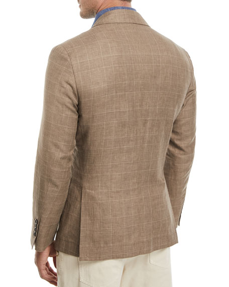 Glen Plaid Wool-Linen Sport Coat, Medium Brown