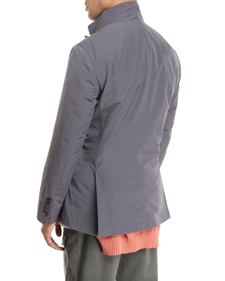 Button-Front Nylon Jacket, Gray
