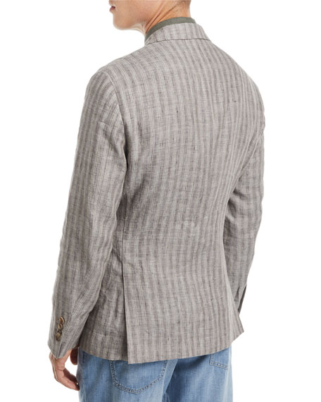 Melange Striped Linen Sport Jacket
