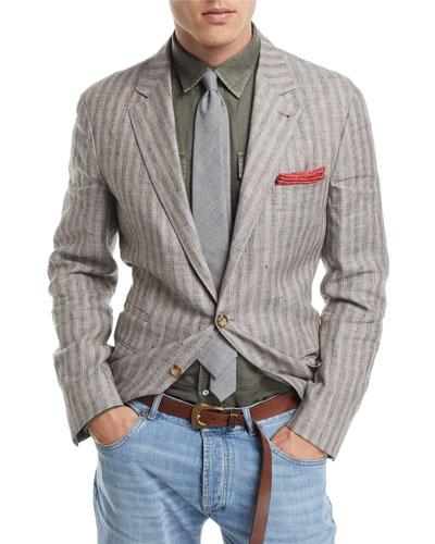 Melange Striped Linen Sport Jacket