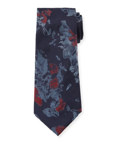 Watercolor Floral Silk Tie, Blue
