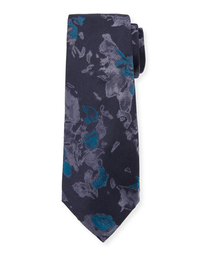 Watercolor Floral Silk Tie, Teal