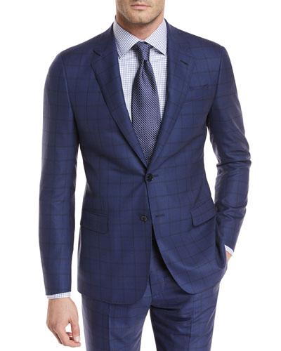 Wide Windowpane Wool Two-Piece Suit