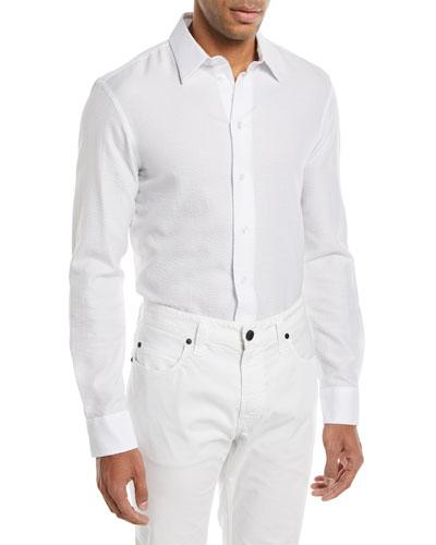 Seersucker Herringbone Cotton Sport Shirt