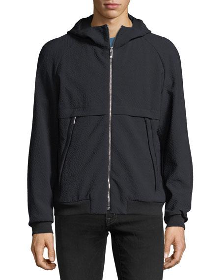 Seersucker Zip-Front Hoodie