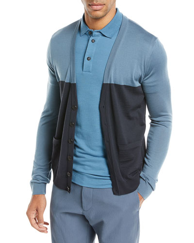 Colorblock Button-Front Wool Cardigan