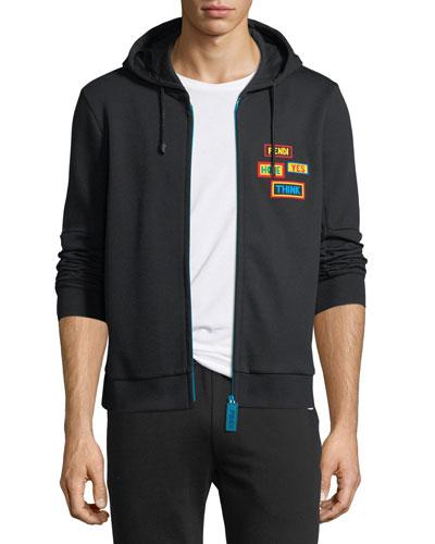 Words Zip-Front Hoodie Sweatshirt