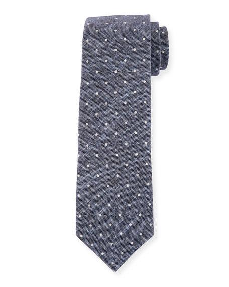 Dot-Print Linen-Blend Tie