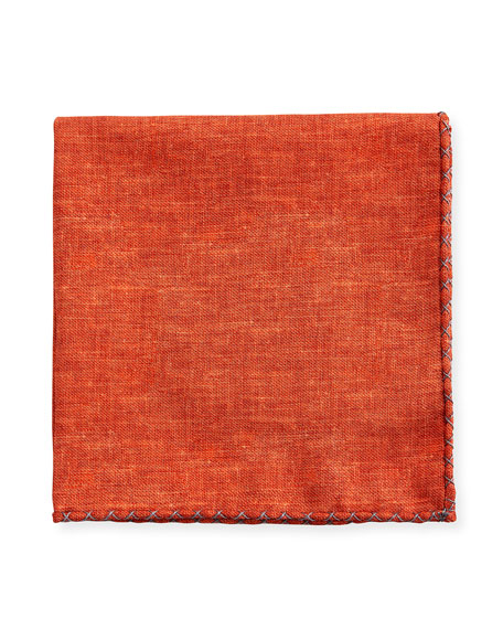 Brunello Cucinelli Stitched-Trim Twill Pocket Square