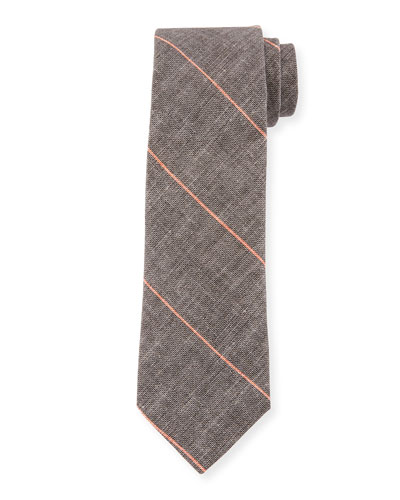 Fine Striped Linen-Blend Tie