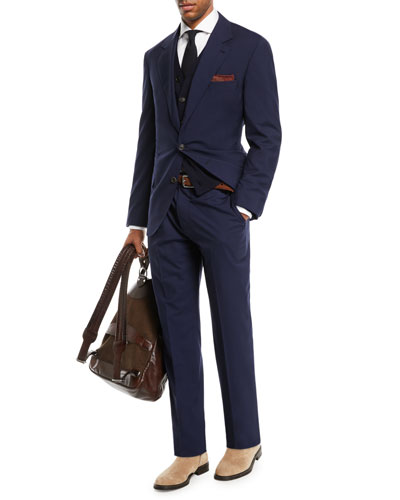 Men's Solid Wool-Blend Two-Piece Travel Suit