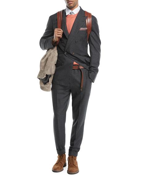 Peak-Lapel Double-Breasted Wool Suit