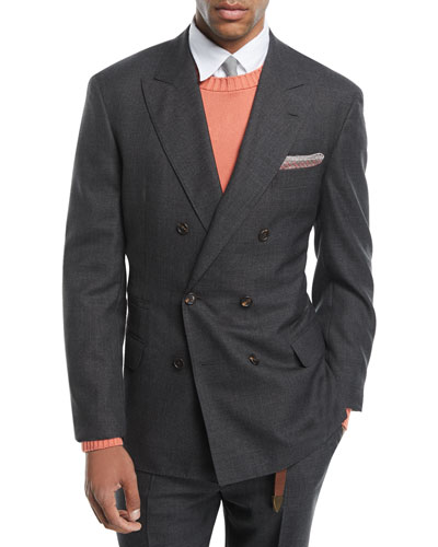 Peak-Lapel Double-Breasted Wool Suit