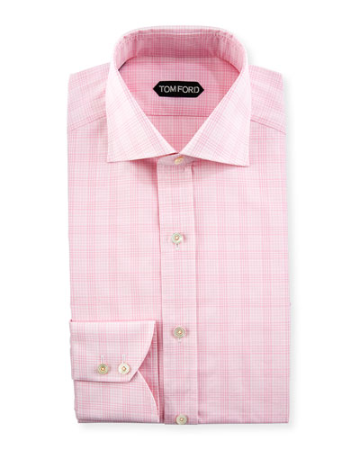 Compressed Plaid Cotton Dress Shirt