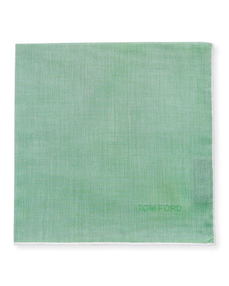 Solid Cotton Pocket Square with Contrast Trim