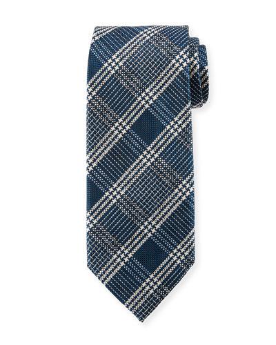 Color Ground Plaid Silk Tie