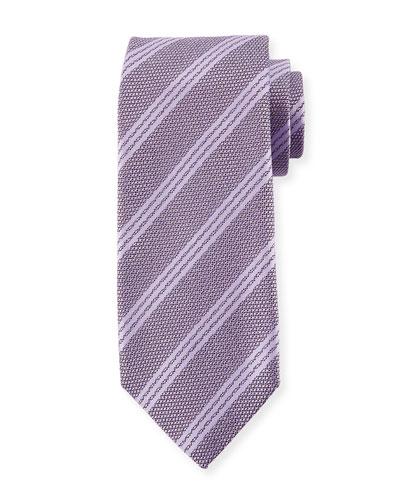 Textured Triple Stripe Silk Tie