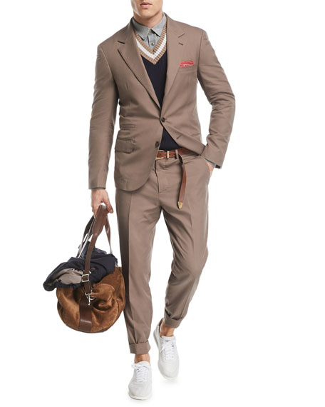 Peak-Lapel Two-Button Cotton Suit