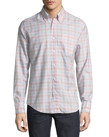 Plaid Button-Front Shirt, Light Pink/Gray