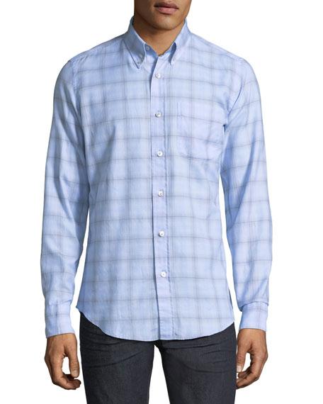 Plaid Cotton Sport Shirt, Light Blue