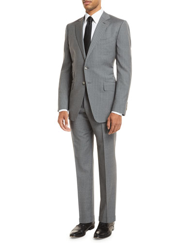 Pinstripe Two-Piece Wool Suit