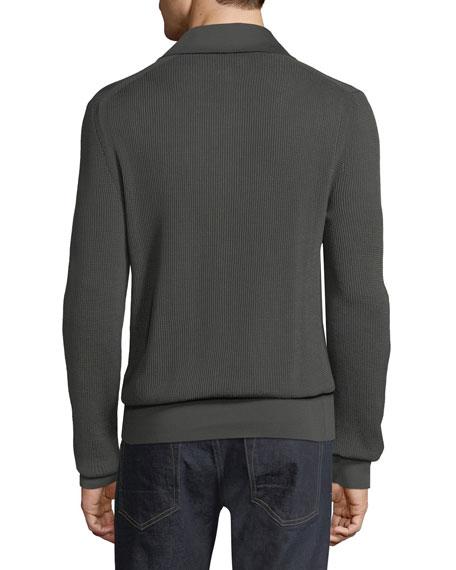 Long-Sleeve Knit Polo Shirt