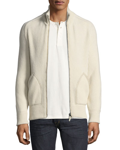 Cashmere Suede-Trim Ribbed Zip-Front Cardigan