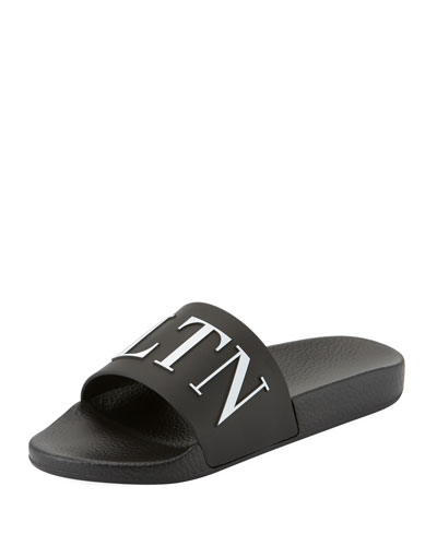 VLTN Men's Logo-Embossed Pool Slide Sandal