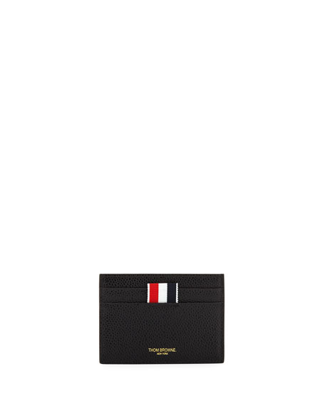 Diagonal Stripe Leather Card Holder