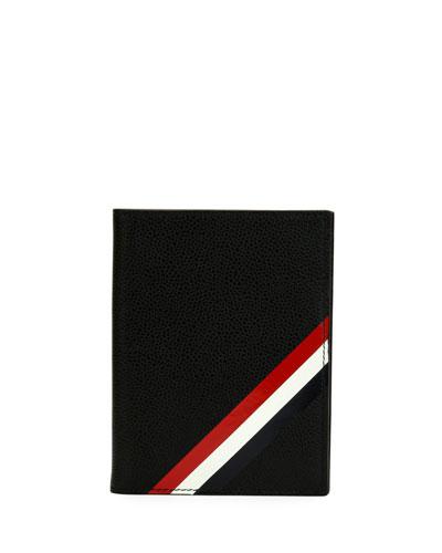 Passport Holder with Diagonal Stripe Trim