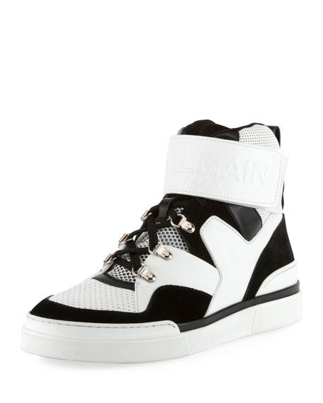 e522dbd3e29 Balmain Men's Two-Tone High-Top Sneakers