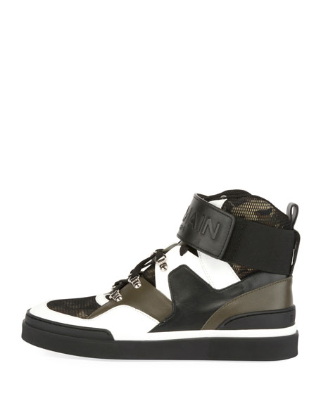 Camouflage-Tone High-Top Sneaker