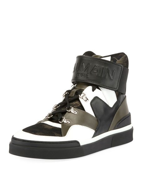 Men's Camouflage-Tone High-Top Sneakers