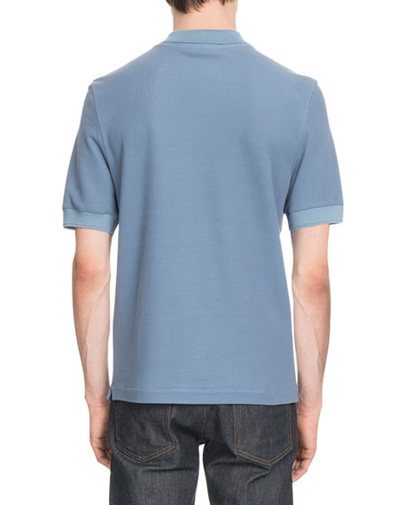 Leather-Trim Polo Shirt