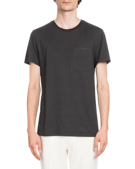 Berluti Leather-Trim Jersey T-Shirt