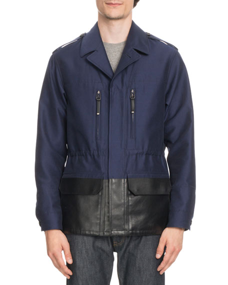 BERLUTI Cotton Field Jacket With Coated Trim in Navy